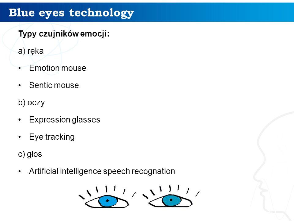Blue eyes technology Typy czujników emocji: a) ręka Emotion mouse Sentic mouse b) oczy Expression glasses Eye tracking c) głos Artificial intelligence