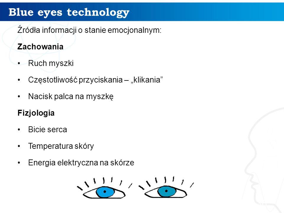 """Blue eyes technology Źródła informacji o stanie emocjonalnym: Zachowania Ruch myszki Częstotliwość przyciskania – """"klikania"""" Nacisk palca na myszkę Fi"""