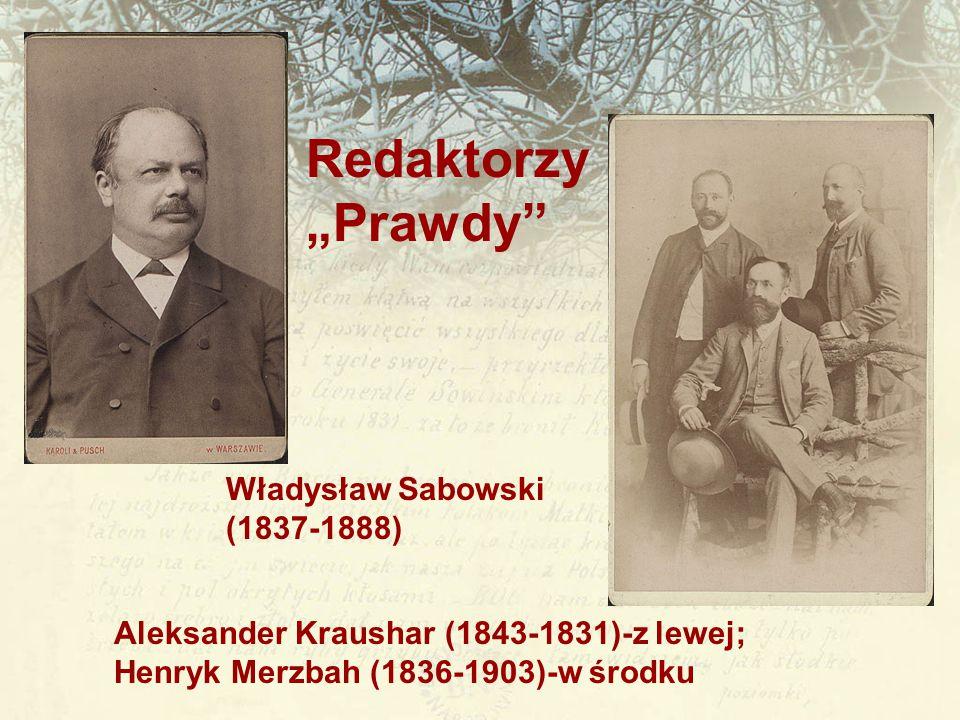 """Redaktorzy """"Prawdy"""" Władysław Sabowski (1837-1888) Aleksander Kraushar (1843-1831)-z lewej; Henryk Merzbah (1836-1903)-w środku"""