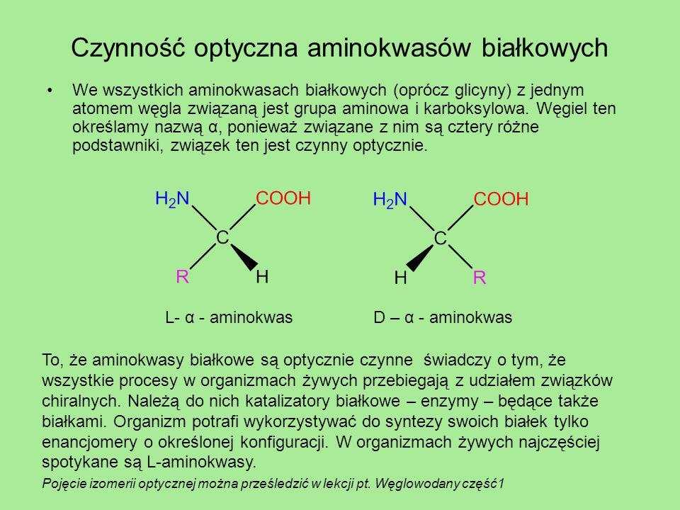 Czynność optyczna aminokwasów białkowych We wszystkich aminokwasach białkowych (oprócz glicyny) z jednym atomem węgla związaną jest grupa aminowa i ka