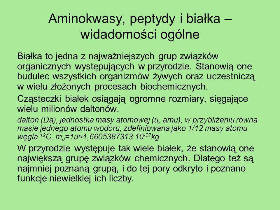 Aminokwasy – wiadomości ogólne Pomimo swej ogromnej złożoności białka są tworami złożonymi z niewielkich cząsteczek zwanych aminokwasami.