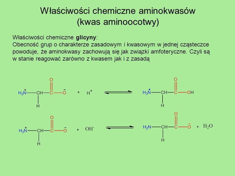Właściwości chemiczne aminokwasów (kwas aminoocotwy) Właściwości chemiczne glicyny: Obecność grup o charakterze zasadowym i kwasowym w jednej cząstecz