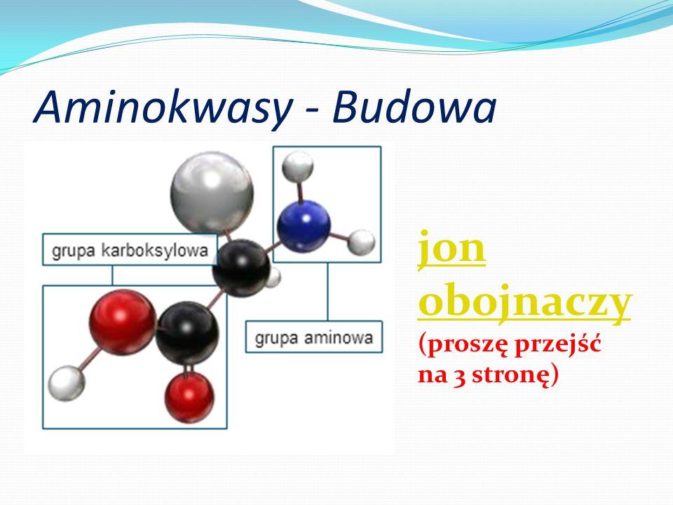 Aminokwasy - Budowa jon obojnaczy jon obojnaczy (proszę przejść na 3 stronę)