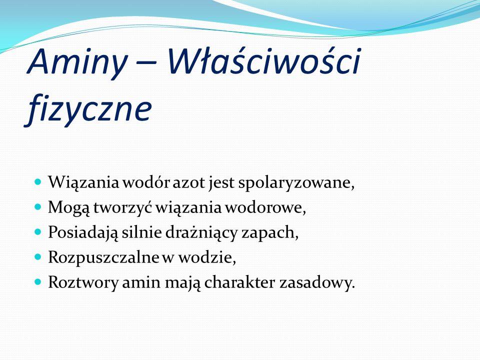 Aminy – Właściwości fizyczne Wiązania wodór azot jest spolaryzowane, Mogą tworzyć wiązania wodorowe, Posiadają silnie drażniący zapach, Rozpuszczalne w wodzie, Roztwory amin mają charakter zasadowy.