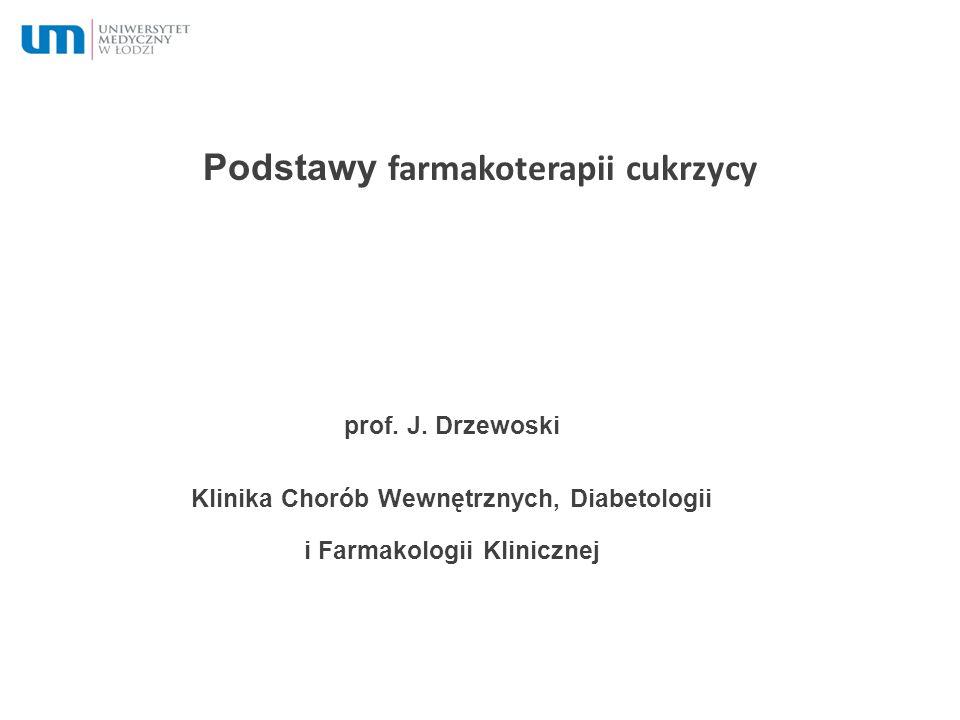Podstawy farmakoterapii cukrzycy prof. J. Drzewoski Klinika Chorób Wewnętrznych, Diabetologii i Farmakologii Klinicznej