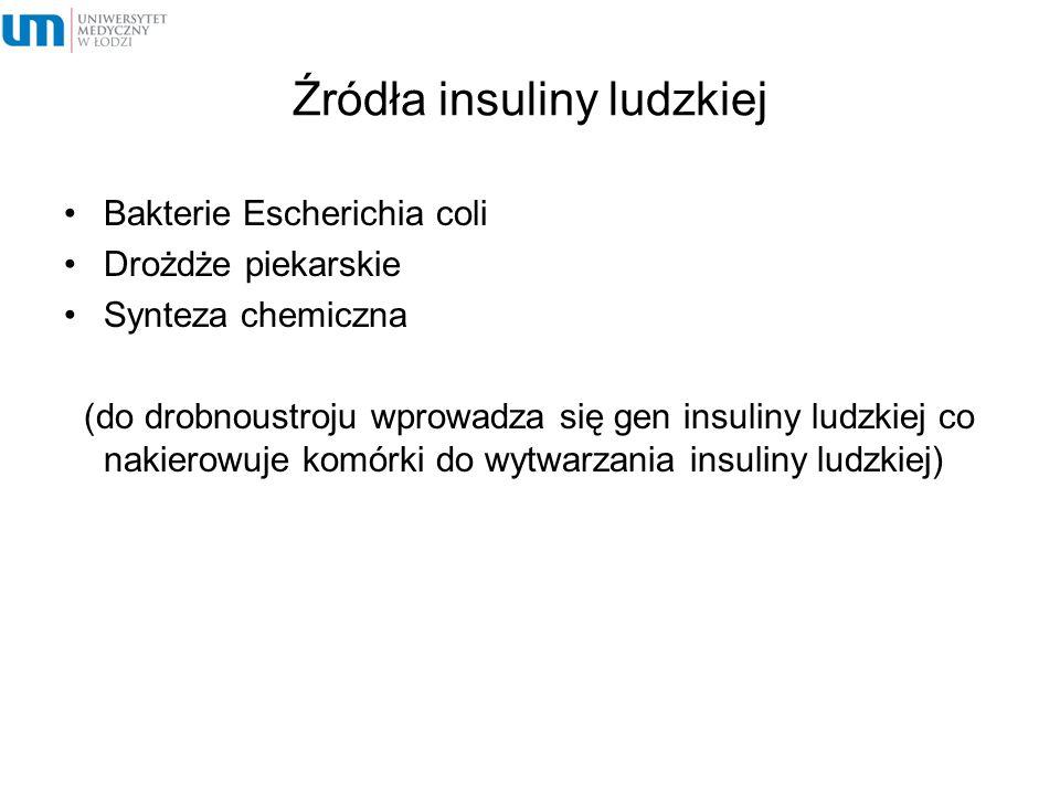 Źródła insuliny ludzkiej Bakterie Escherichia coli Drożdże piekarskie Synteza chemiczna (do drobnoustroju wprowadza się gen insuliny ludzkiej co nakie