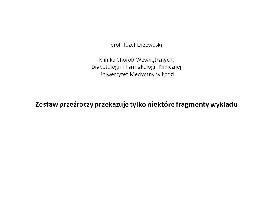 prof. Józef Drzewoski Klinika Chorób Wewnętrznych, Diabetologii i Farmakologii Klinicznej Uniwersytet Medyczny w Łodzi Zestaw przeźroczy przekazuje ty