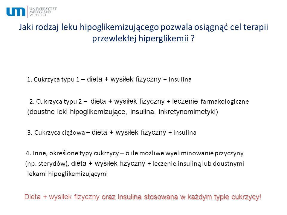 Jaki rodzaj leku hipoglikemizującego pozwala osiągnąć cel terapii przewlekłej hiperglikemii ? 1. Cukrzyca typu 1 – dieta + wysiłek fizyczny + insulina