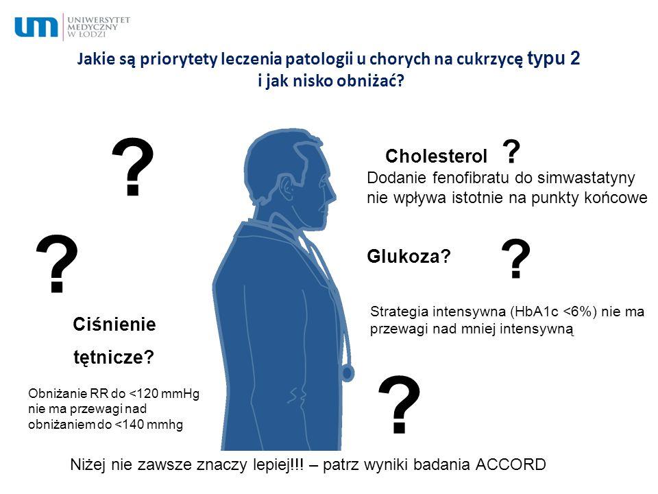 Jakie są priorytety leczenia patologii u chorych na cukrzycę typu 2 i jak nisko obniżać? ? ? ? Glukoza? Ciśnienie tętnicze? Cholesterol ? ? Niżej nie