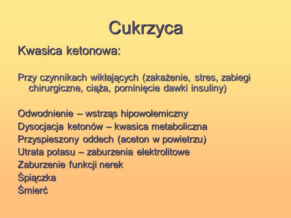 Cukrzyca Kwasica ketonowa: Przy czynnikach wikłających (zakażenie, stres, zabiegi chirurgiczne, ciąża, pominięcie dawki insuliny) Odwodnienie – wstrzą