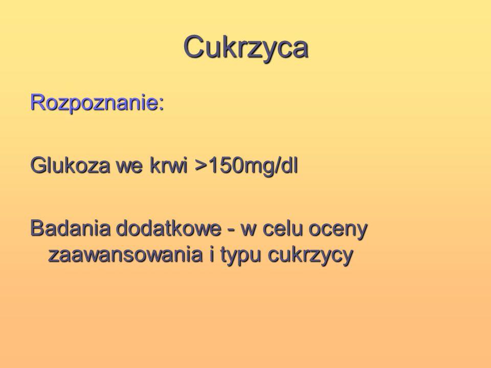 Cukrzyca Rozpoznanie: Glukoza we krwi >150mg/dl Badania dodatkowe - w celu oceny zaawansowania i typu cukrzycy