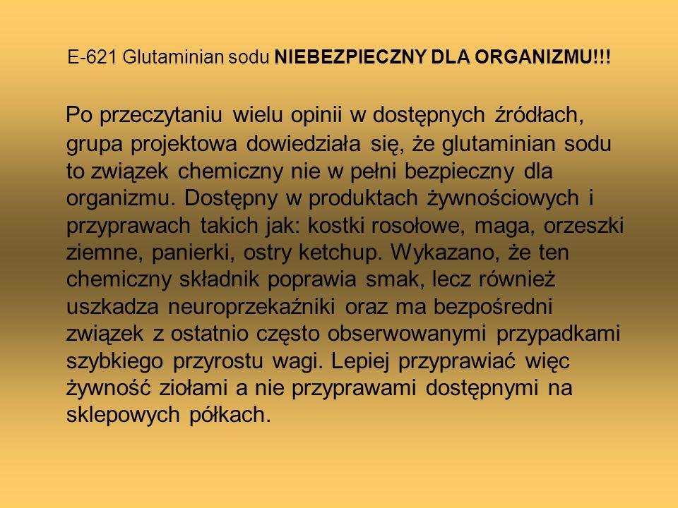 E-621 Glutaminian sodu NIEBEZPIECZNY DLA ORGANIZMU!!! Po przeczytaniu wielu opinii w dostępnych źródłach, grupa projektowa dowiedziała się, że glutami