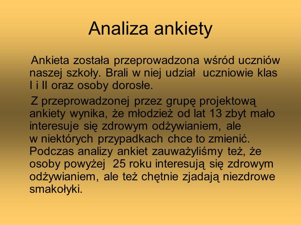 Analiza ankiety Ankieta została przeprowadzona wśród uczniów naszej szkoły. Brali w niej udział uczniowie klas I i II oraz osoby dorosłe. Z przeprowad