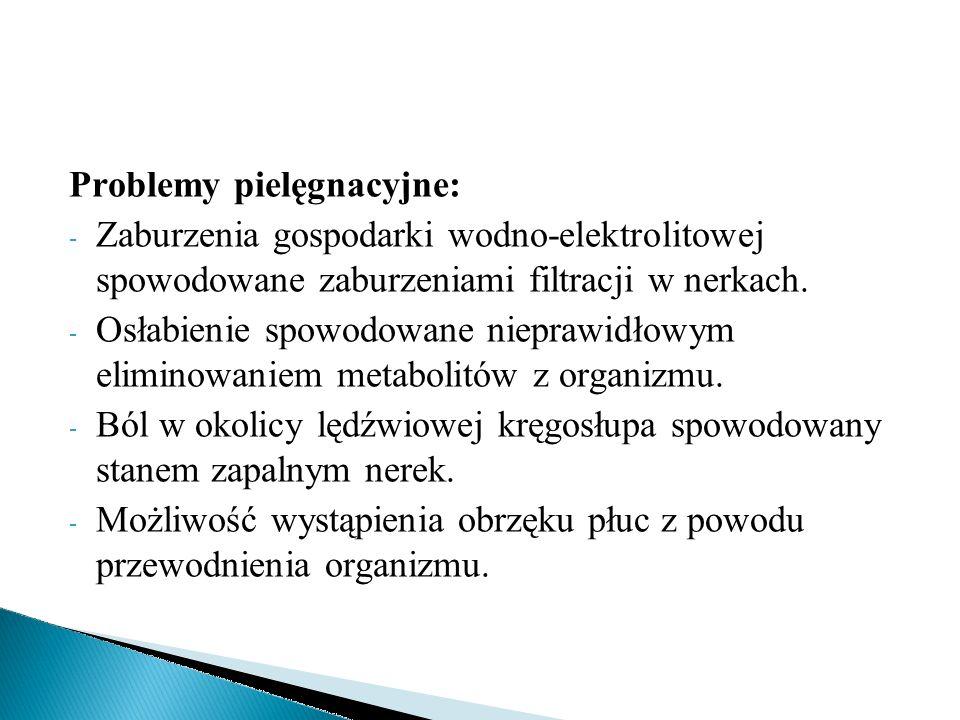 Problemy pielęgnacyjne: - Zaburzenia gospodarki wodno-elektrolitowej spowodowane zaburzeniami filtracji w nerkach. - Osłabienie spowodowane nieprawidł