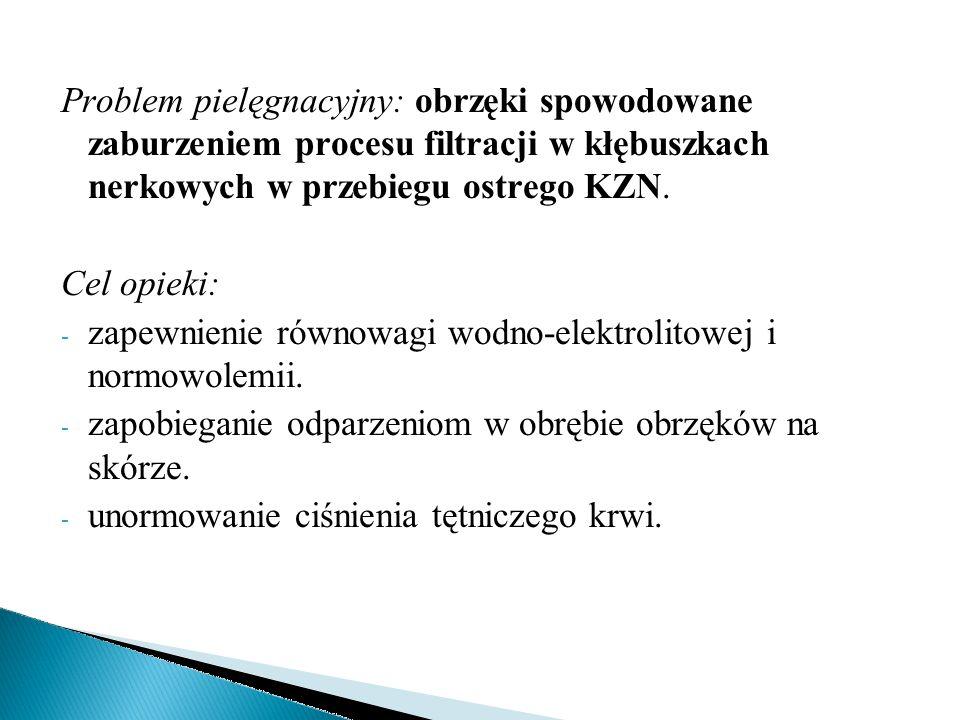 Problem pielęgnacyjny: obrzęki spowodowane zaburzeniem procesu filtracji w kłębuszkach nerkowych w przebiegu ostrego KZN. Cel opieki: - zapewnienie ró