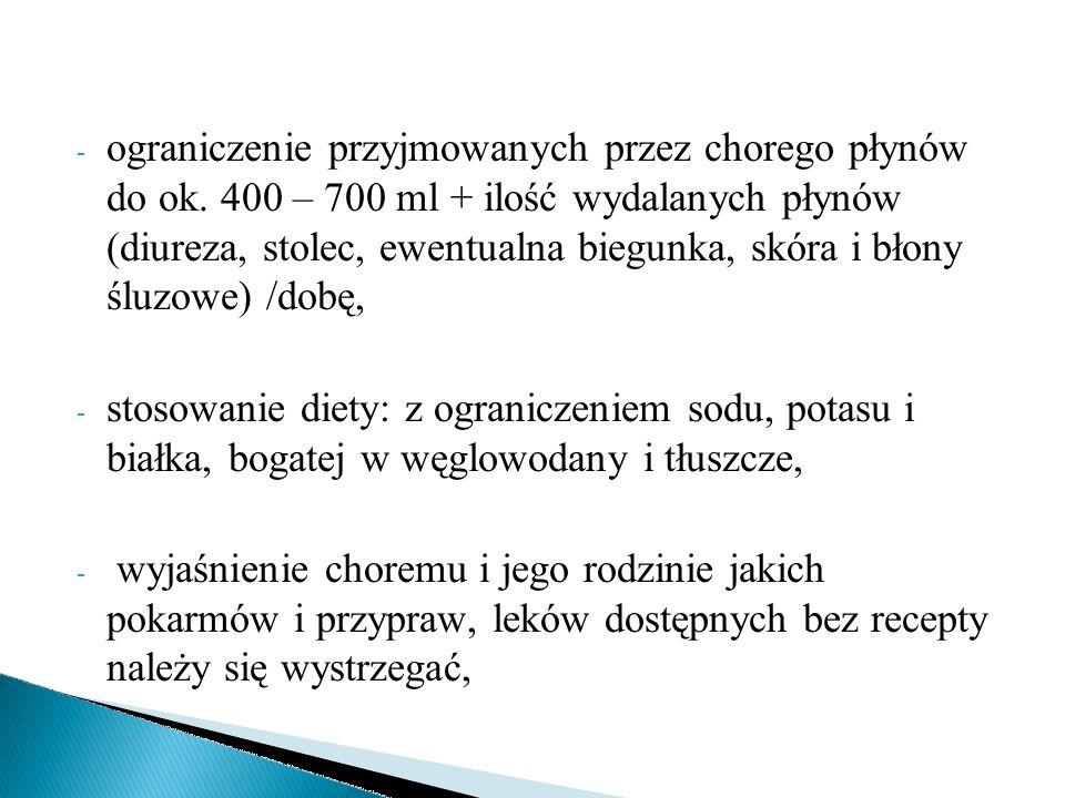 - ograniczenie przyjmowanych przez chorego płynów do ok. 400 – 700 ml + ilość wydalanych płynów (diureza, stolec, ewentualna biegunka, skóra i błony ś