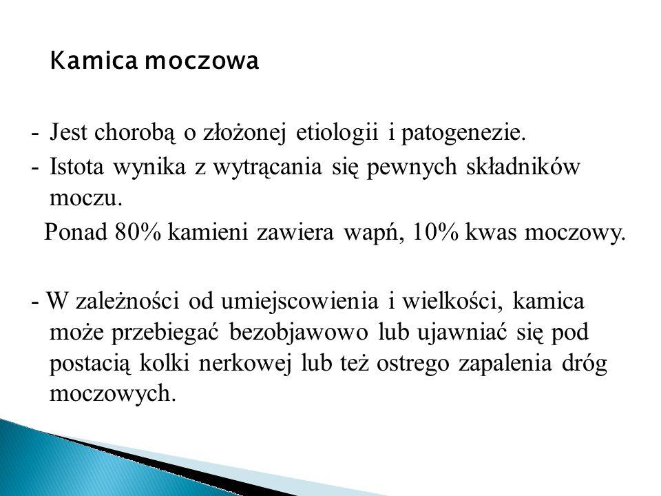 Kamica moczowa -Jest chorobą o złożonej etiologii i patogenezie. -Istota wynika z wytrącania się pewnych składników moczu. Ponad 80% kamieni zawiera w