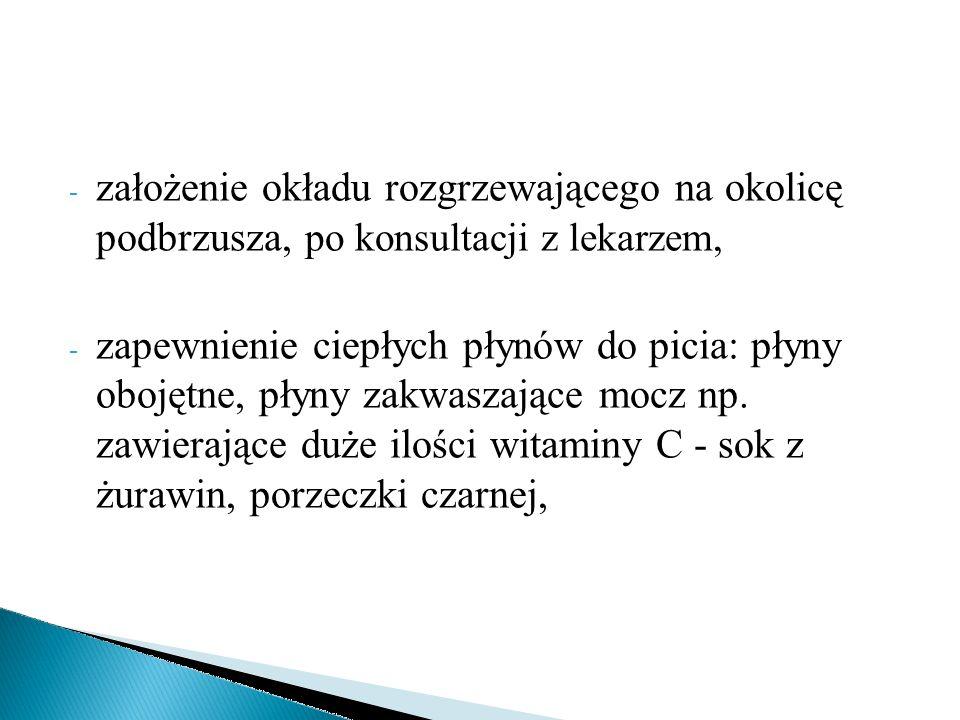 - założenie okładu rozgrzewającego na okolicę podbrzusza, po konsultacji z lekarzem, - zapewnienie ciepłych płynów do picia: płyny obojętne, płyny zak
