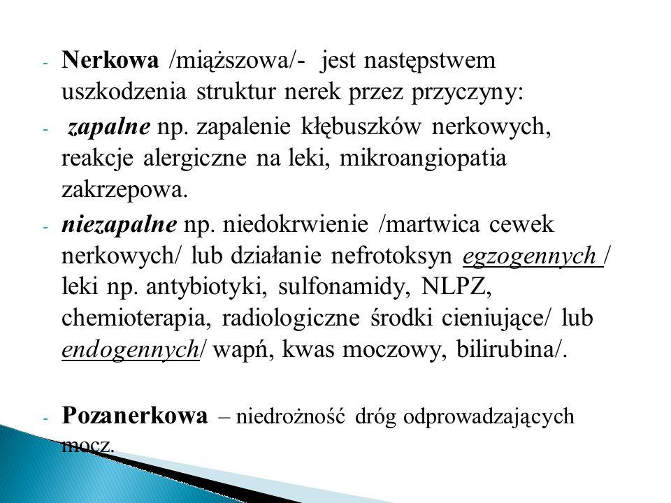 - Nerkowa /miąższowa/- jest następstwem uszkodzenia struktur nerek przez przyczyny: - zapalne np. zapalenie kłębuszków nerkowych, reakcje alergiczne n