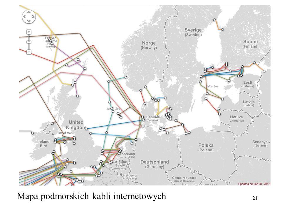 21 Mapa podmorskich kabli internetowych