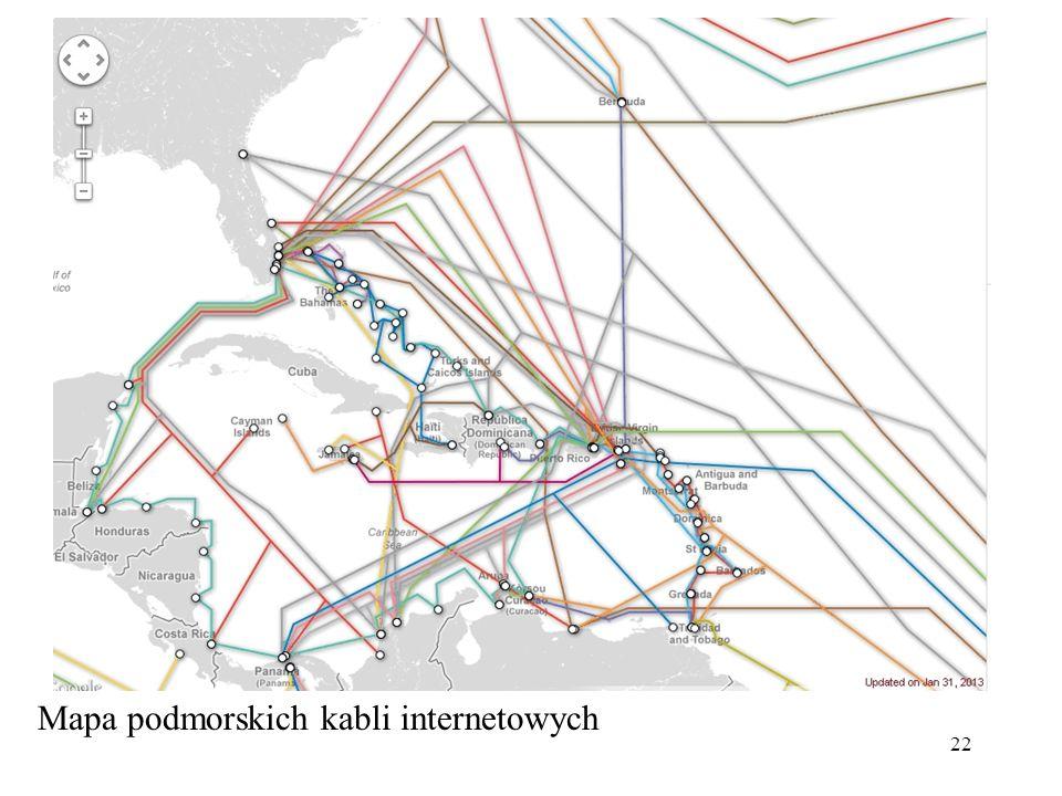 22 Mapa podmorskich kabli internetowych
