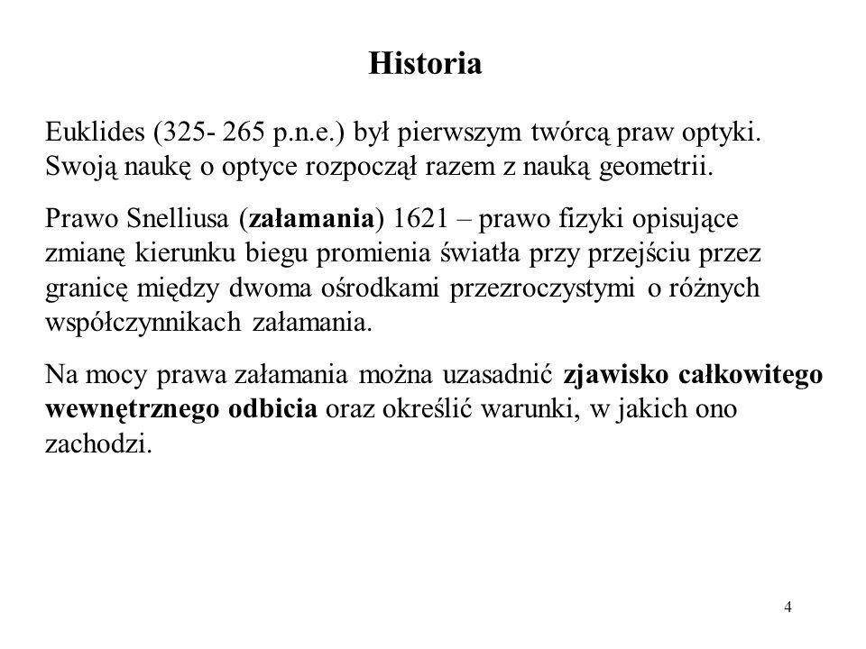 4 Historia Euklides (325- 265 p.n.e.) był pierwszym twórcą praw optyki. Swoją naukę o optyce rozpoczął razem z nauką geometrii. Prawo Snelliusa (załam