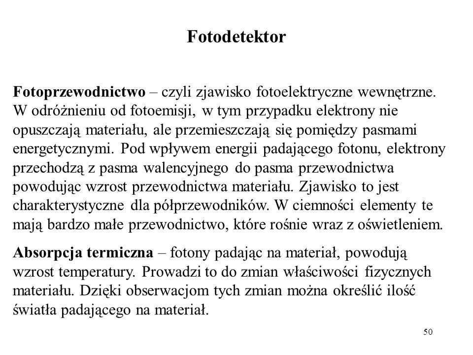 50 Fotodetektor Fotoprzewodnictwo – czyli zjawisko fotoelektryczne wewnętrzne. W odróżnieniu od fotoemisji, w tym przypadku elektrony nie opuszczają m
