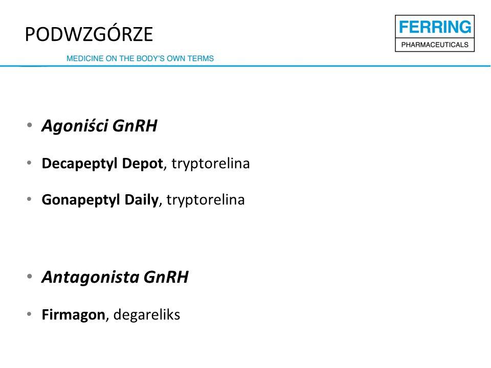 Agoniści GnRH Decapeptyl Depot, tryptorelina Gonapeptyl Daily, tryptorelina Antagonista GnRH Firmagon, degareliks PODWZGÓRZE