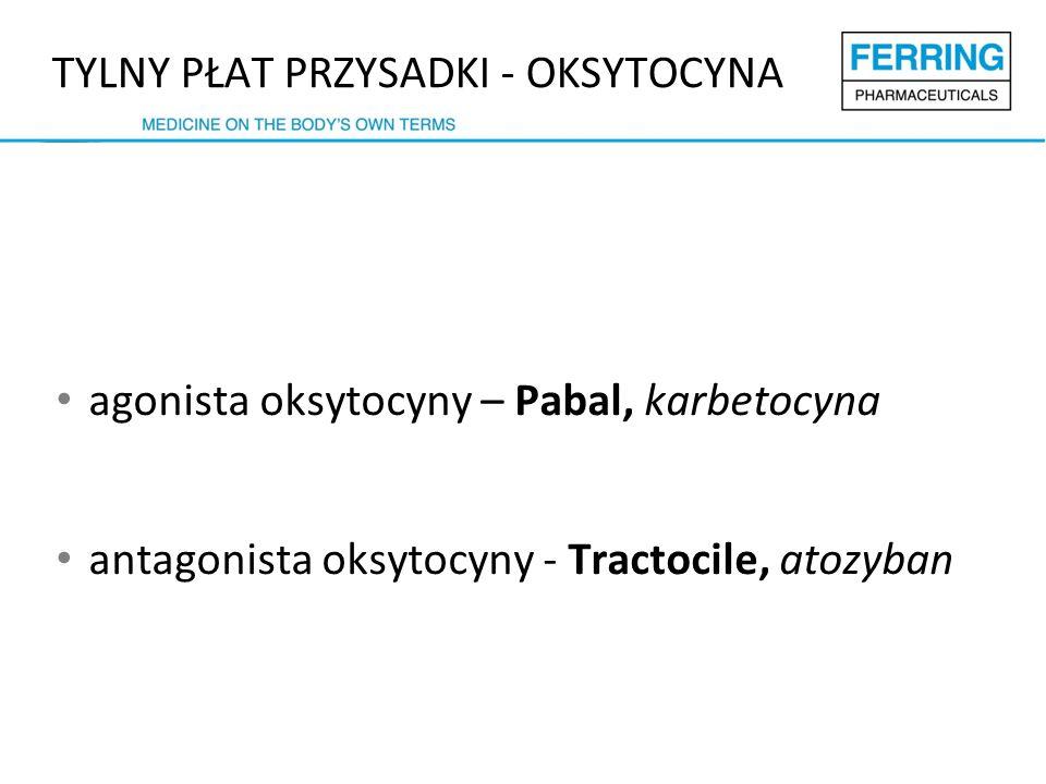 agonista oksytocyny – Pabal, karbetocyna antagonista oksytocyny - Tractocile, atozyban TYLNY PŁAT PRZYSADKI - OKSYTOCYNA