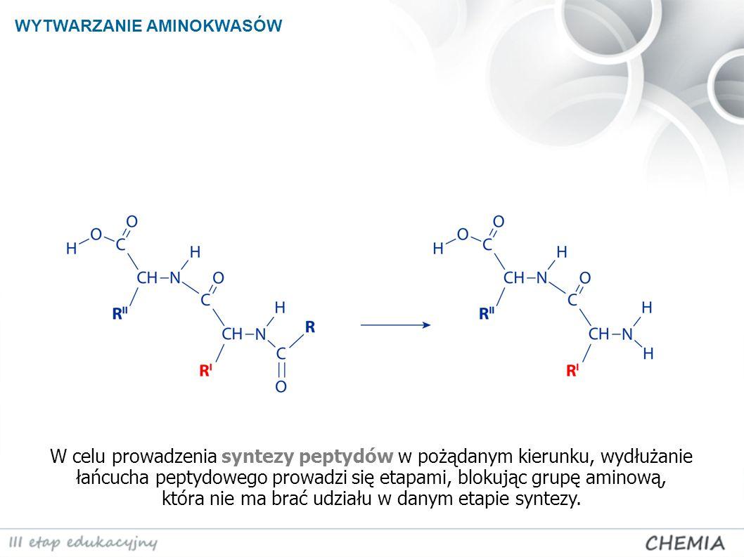 W celu prowadzenia syntezy peptydów w pożądanym kierunku, wydłużanie łańcucha peptydowego prowadzi się etapami, blokując grupę aminową, która nie ma b