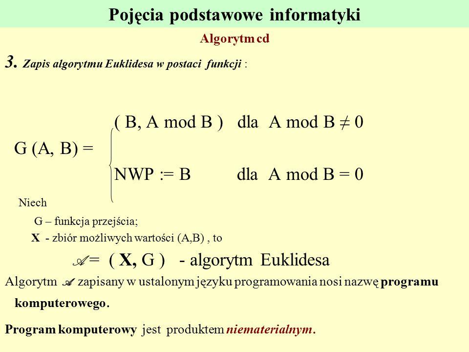 Pojęcia podstawowe informatyki Algorytm cd 3. Zapis algorytmu Euklidesa w postaci funkcji : ( B, A mod B ) dla A mod B ≠ 0 G (A, B) = NWP := B dla A m