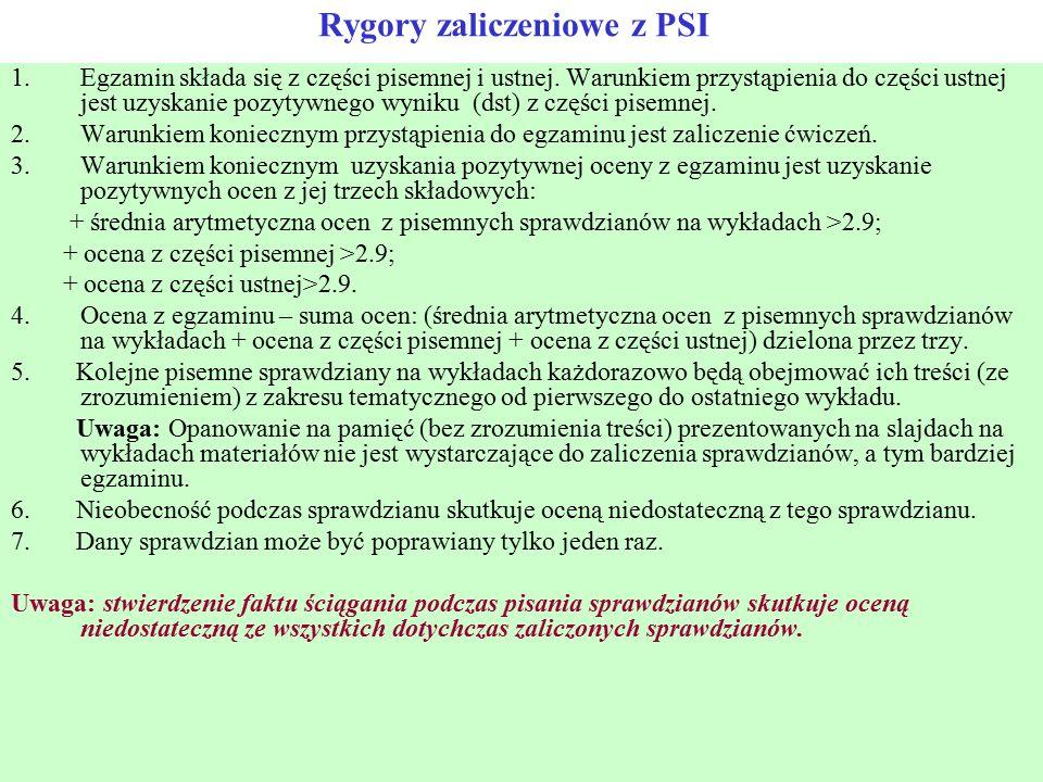 Rygory zaliczeniowe z PSI 1.Egzamin składa się z części pisemnej i ustnej. Warunkiem przystąpienia do części ustnej jest uzyskanie pozytywnego wyniku