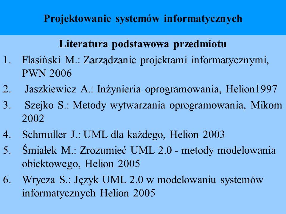 Projektowanie systemów informatycznych Literatura podstawowa przedmiotu 1.Flasiński M.: Zarządzanie projektami informatycznymi, PWN 2006 2. Jaszkiewic