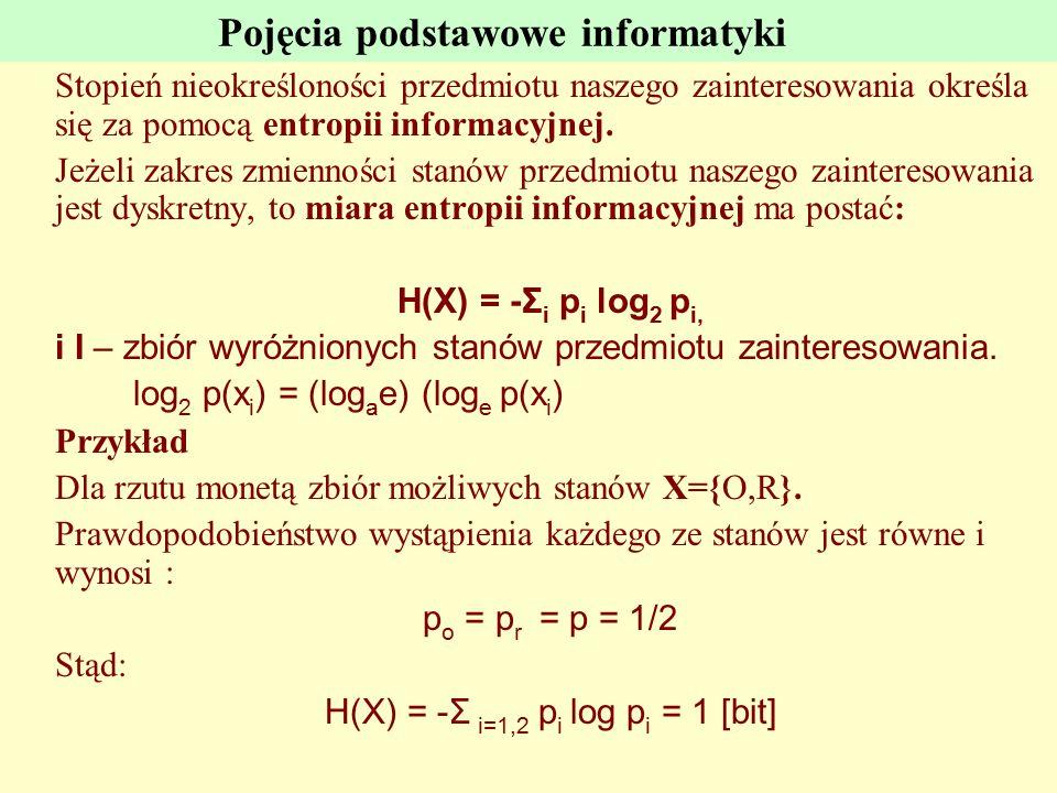 Pojęcia podstawowe informatyki Stopień nieokreśloności przedmiotu naszego zainteresowania określa się za pomocą entropii informacyjnej. Jeżeli zakres