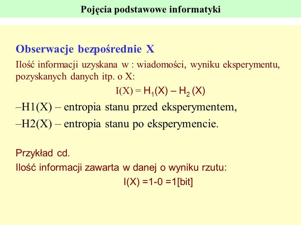 Pojęcia podstawowe informatyki Obserwacje bezpośrednie X Ilość informacji uzyskana w : wiadomości, wyniku eksperymentu, pozyskanych danych itp. o X: I