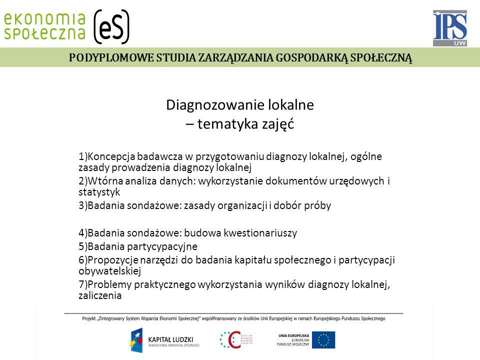 Diagnozowanie lokalne – tematyka zajęć 1)Koncepcja badawcza w przygotowaniu diagnozy lokalnej, ogólne zasady prowadzenia diagnozy lokalnej 2)Wtórna an