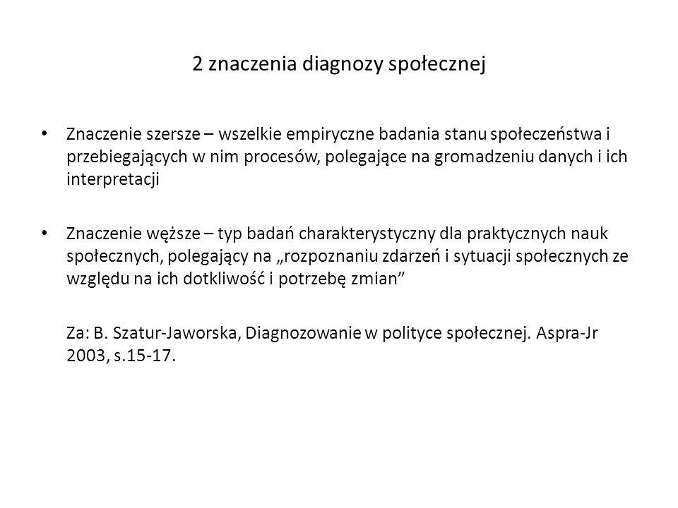 2 znaczenia diagnozy społecznej Znaczenie szersze – wszelkie empiryczne badania stanu społeczeństwa i przebiegających w nim procesów, polegające na gr