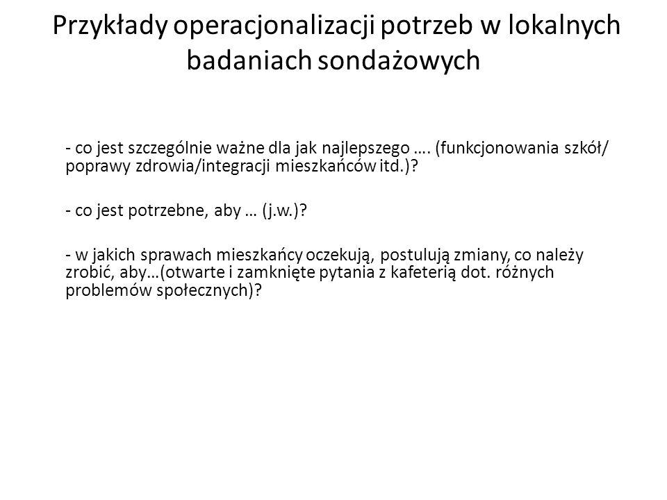 Przykłady operacjonalizacji potrzeb w lokalnych badaniach sondażowych - co jest szczególnie ważne dla jak najlepszego …. (funkcjonowania szkół/ popraw