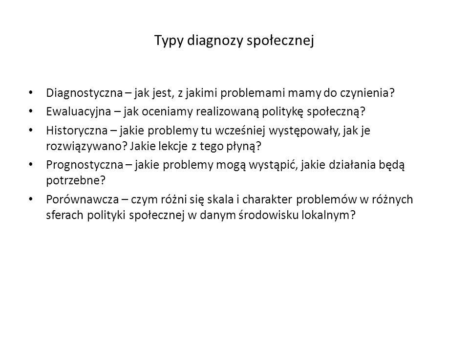 Typy diagnozy społecznej Diagnostyczna – jak jest, z jakimi problemami mamy do czynienia? Ewaluacyjna – jak oceniamy realizowaną politykę społeczną? H