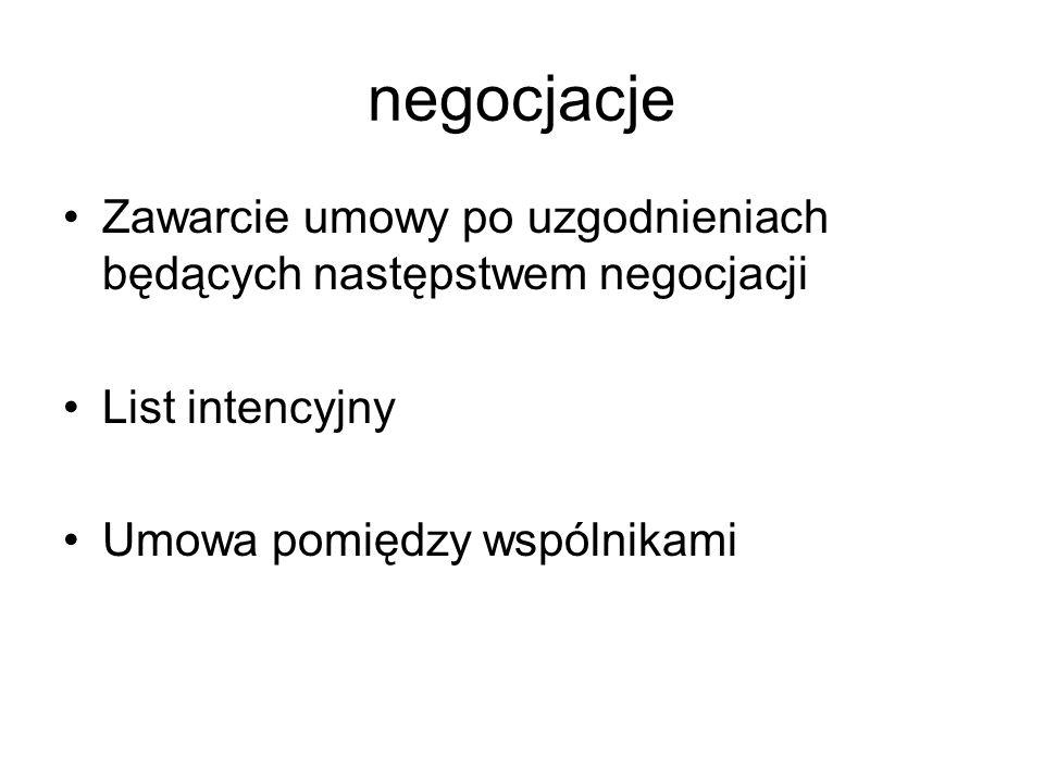 negocjacje Zawarcie umowy po uzgodnieniach będących następstwem negocjacji List intencyjny Umowa pomiędzy wspólnikami