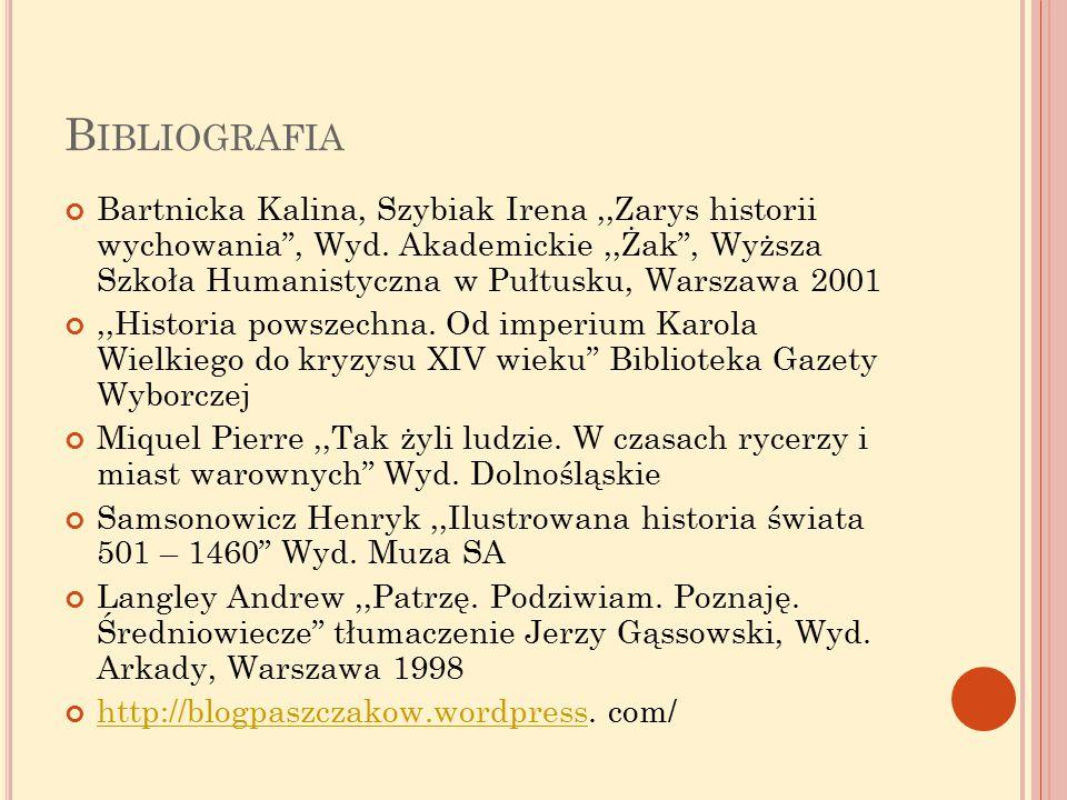 B IBLIOGRAFIA Bartnicka Kalina, Szybiak Irena,,Zarys historii wychowania , Wyd.