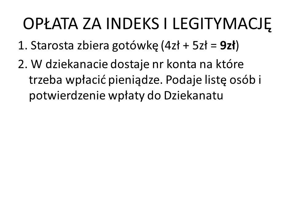 OPŁATA ZA INDEKS I LEGITYMACJĘ 1.Starosta zbiera gotówkę (4zł + 5zł = 9zł) 2.