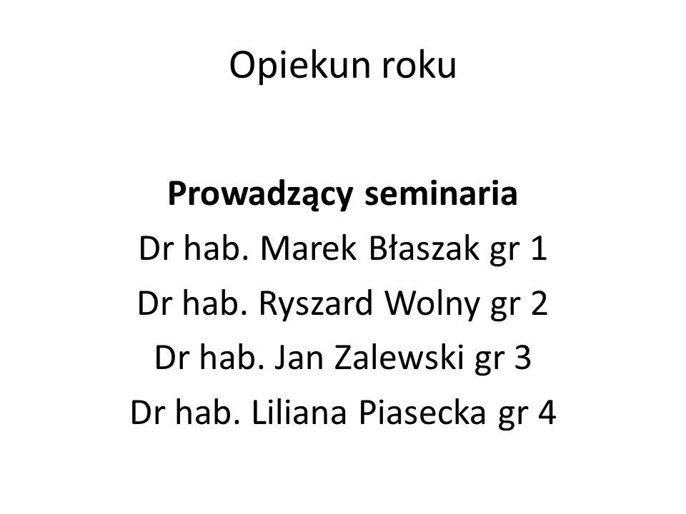 Opiekun roku Prowadzący seminaria Dr hab.Marek Błaszak gr 1 Dr hab.