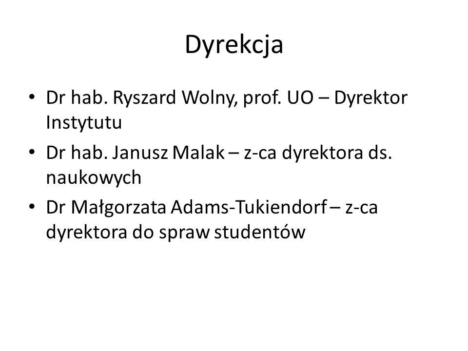 Dyrekcja Dr hab.Ryszard Wolny, prof. UO – Dyrektor Instytutu Dr hab.
