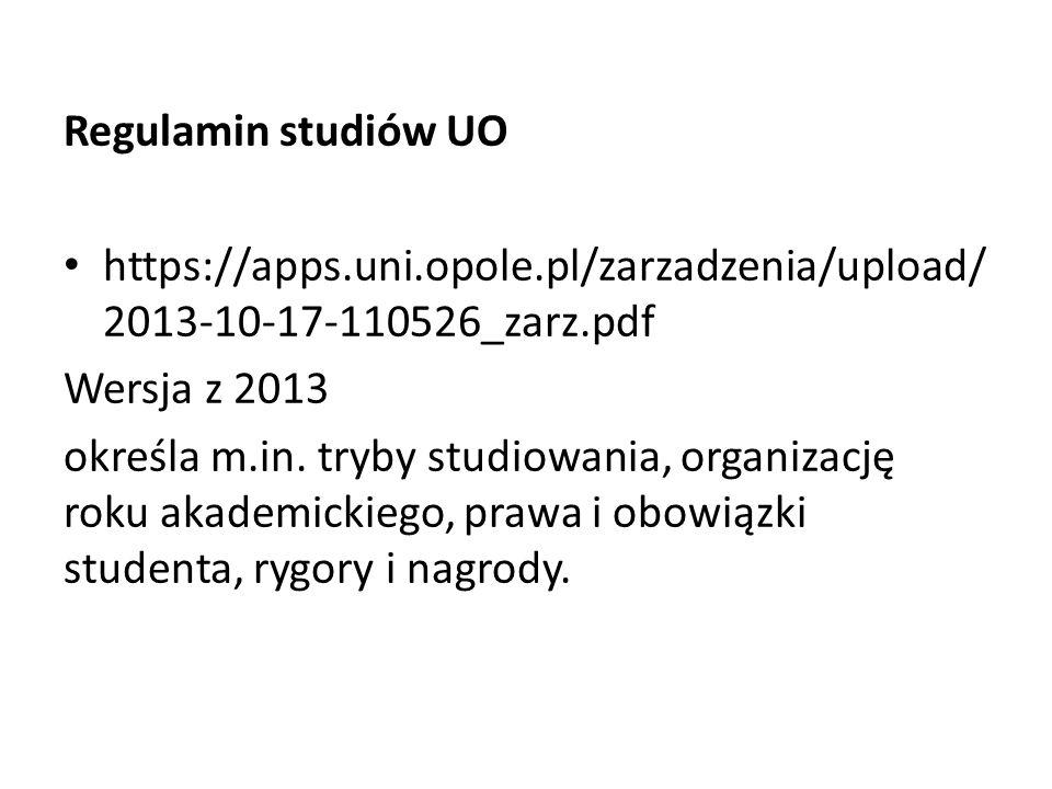 Regulamin studiów UO https://apps.uni.opole.pl/zarzadzenia/upload/ 2013-10-17-110526_zarz.pdf Wersja z 2013 określa m.in.