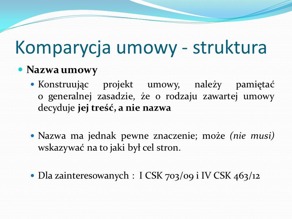 Komparycja umowy - struktura Nazwa umowy Konstruując projekt umowy, należy pamiętać o generalnej zasadzie, że o rodzaju zawartej umowy decyduje jej tr