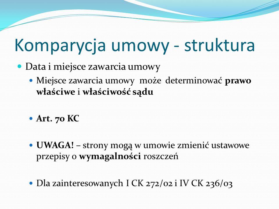 Komparycja umowy - struktura Data i miejsce zawarcia umowy Miejsce zawarcia umowy może determinować prawo właściwe i właściwość sądu Art. 70 KC UWAGA!