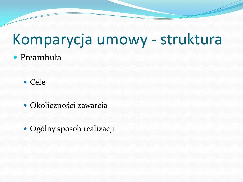 Komparycja umowy - struktura Preambuła Cele Okoliczności zawarcia Ogólny sposób realizacji