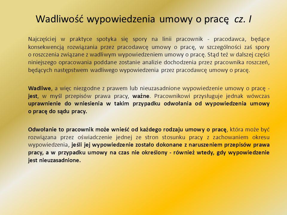 Wadliwość wypowiedzenia umowy o pracę cz.