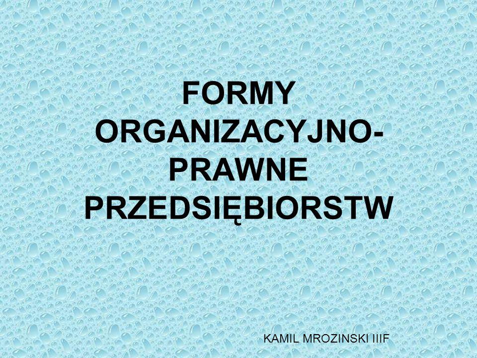 FORMY ORGANIZACYJNO- PRAWNE PRZEDSIĘBIORSTW KAMIL MROZINSKI IIIF